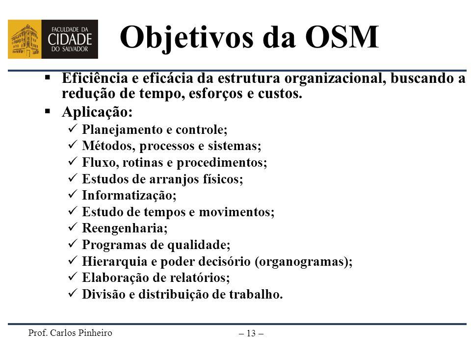 Prof. Carlos Pinheiro – 13 – Objetivos da OSM Eficiência e eficácia da estrutura organizacional, buscando a redução de tempo, esforços e custos. Aplic