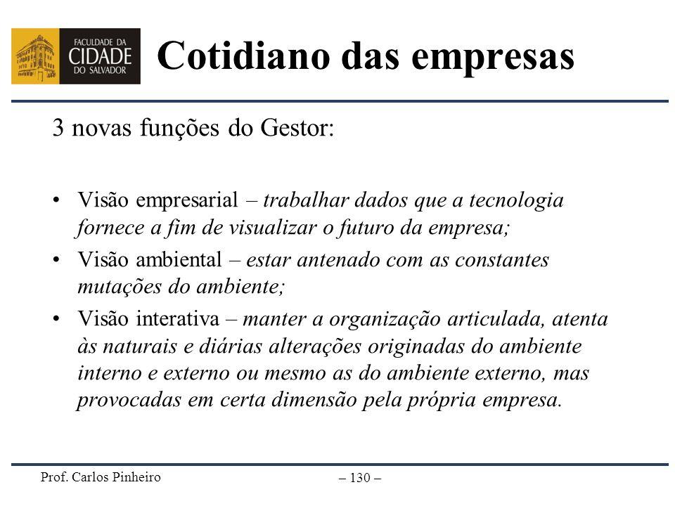 Prof. Carlos Pinheiro – 130 – Cotidiano das empresas 3 novas funções do Gestor: Visão empresarial – trabalhar dados que a tecnologia fornece a fim de