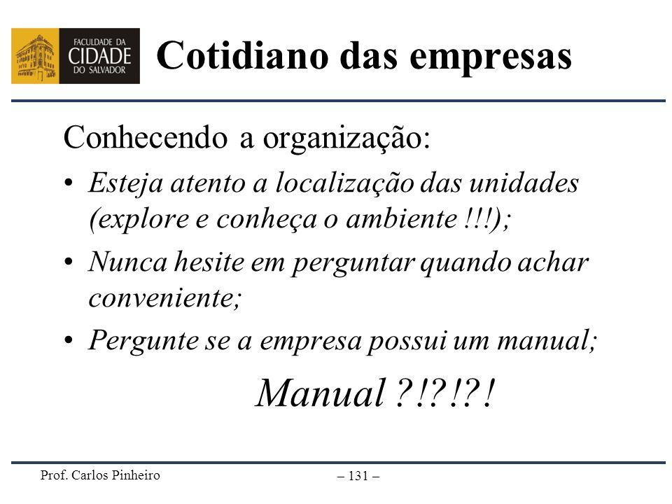 Prof. Carlos Pinheiro – 131 – Cotidiano das empresas Conhecendo a organização: Esteja atento a localização das unidades (explore e conheça o ambiente