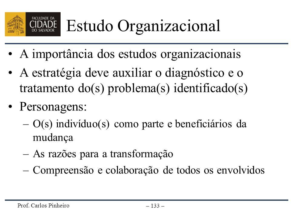 Prof. Carlos Pinheiro – 133 – Estudo Organizacional A importância dos estudos organizacionais A estratégia deve auxiliar o diagnóstico e o tratamento