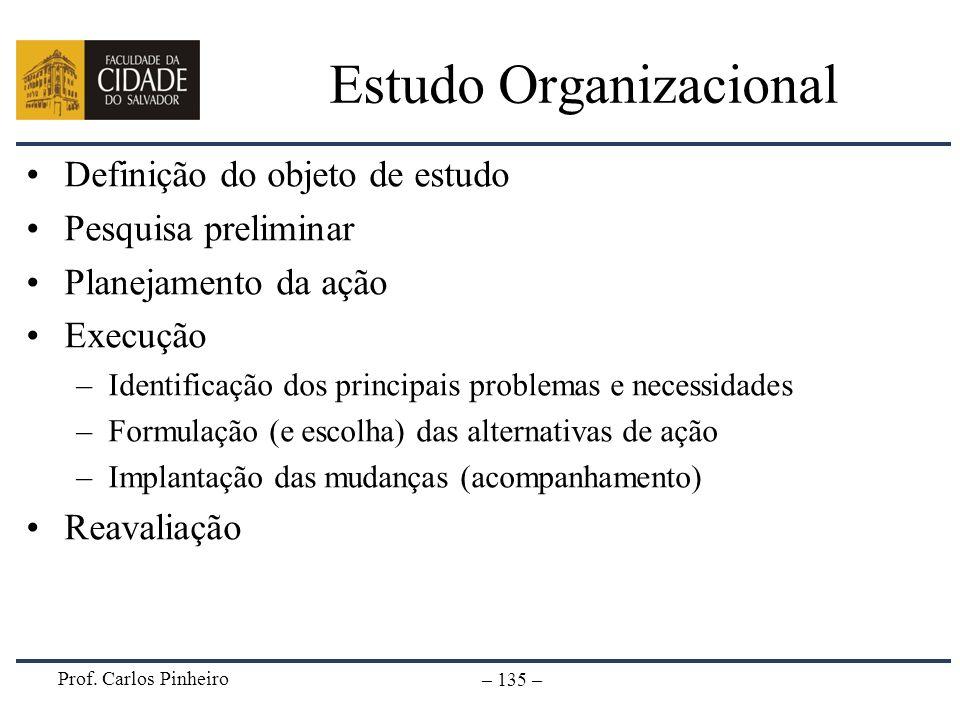 Prof. Carlos Pinheiro – 135 – Estudo Organizacional Definição do objeto de estudo Pesquisa preliminar Planejamento da ação Execução –Identificação dos