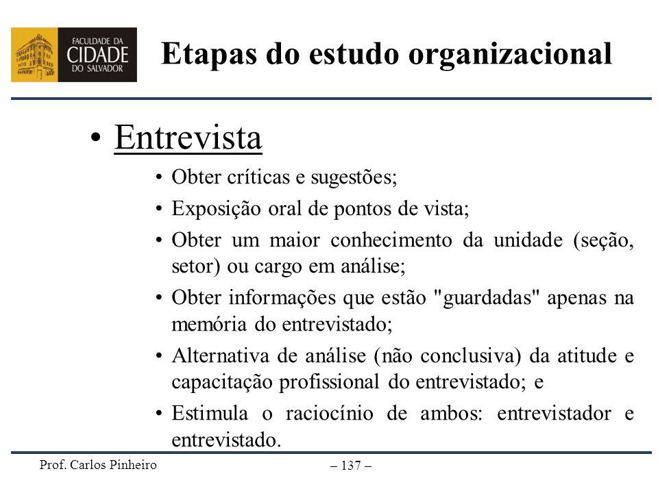 Prof. Carlos Pinheiro – 137 – Etapas do estudo organizacional Entrevista Obter críticas e sugestões; Exposição oral de pontos de vista; Obter um maior
