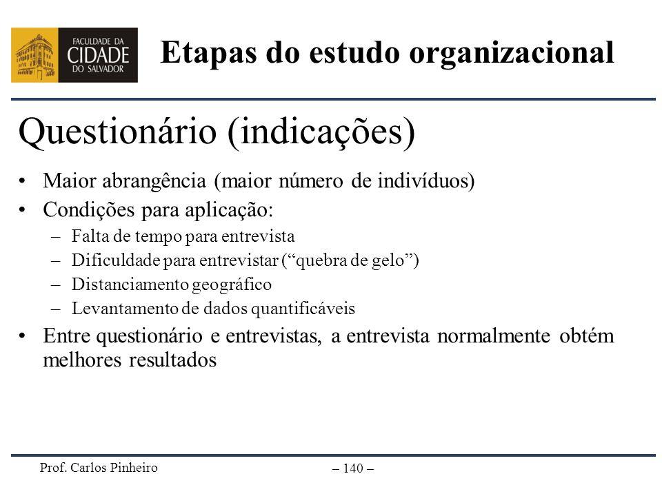 Prof. Carlos Pinheiro – 140 – Questionário (indicações) Maior abrangência (maior número de indivíduos) Condições para aplicação: –Falta de tempo para
