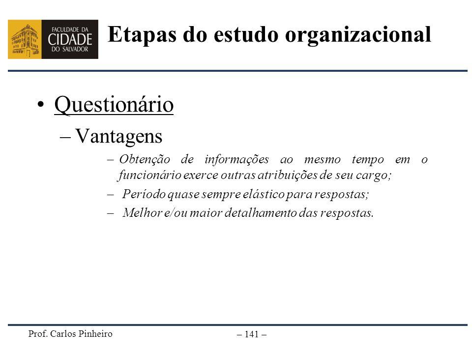 Prof. Carlos Pinheiro – 141 – Questionário –Vantagens –Obtenção de informações ao mesmo tempo em o funcionário exerce outras atribuições de seu cargo;