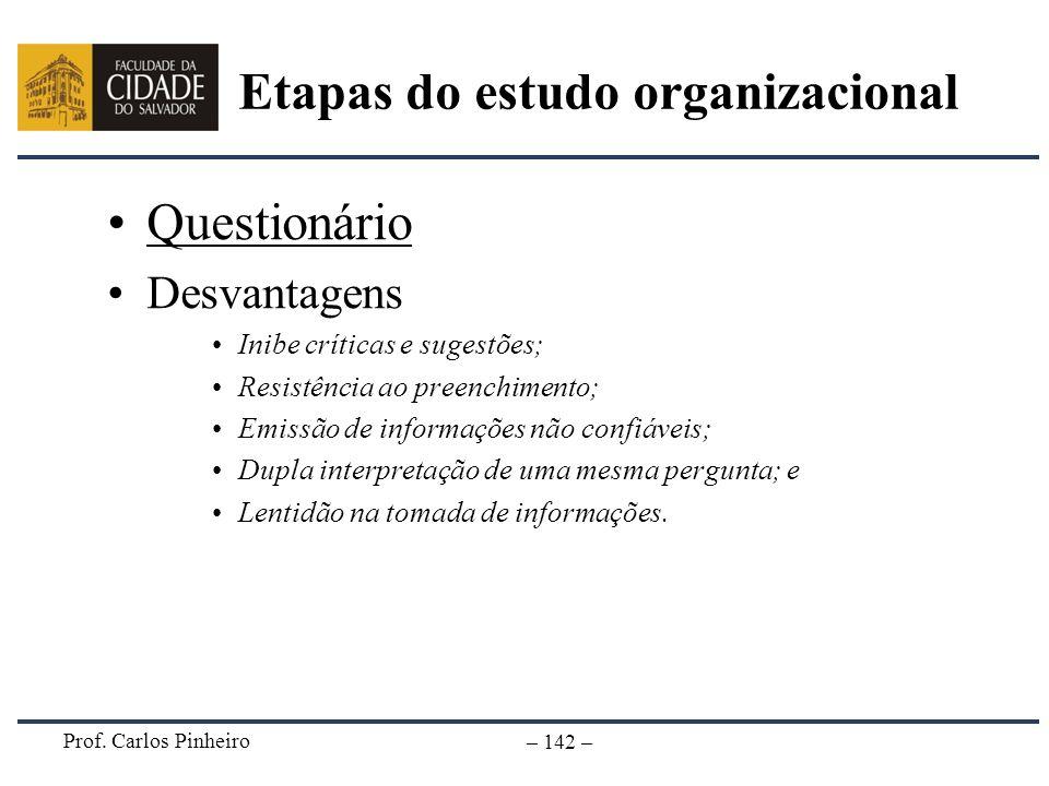 Prof. Carlos Pinheiro – 142 – Questionário Desvantagens Inibe críticas e sugestões; Resistência ao preenchimento; Emissão de informações não confiávei