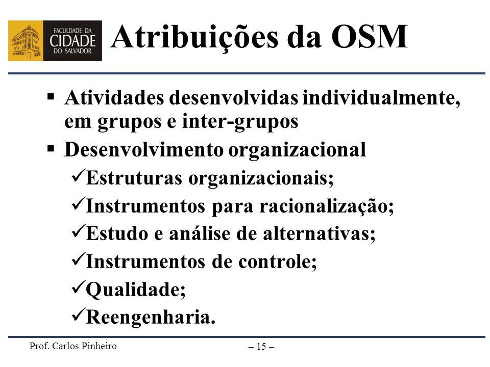 Prof. Carlos Pinheiro – 15 – Atribuições da OSM Atividades desenvolvidas individualmente, em grupos e inter-grupos Desenvolvimento organizacional Estr