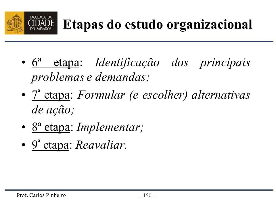 Prof. Carlos Pinheiro – 150 – 6ª etapa: Identificação dos principais problemas e demandas; 7 ª etapa: Formular (e escolher) alternativas de ação; 8ª e