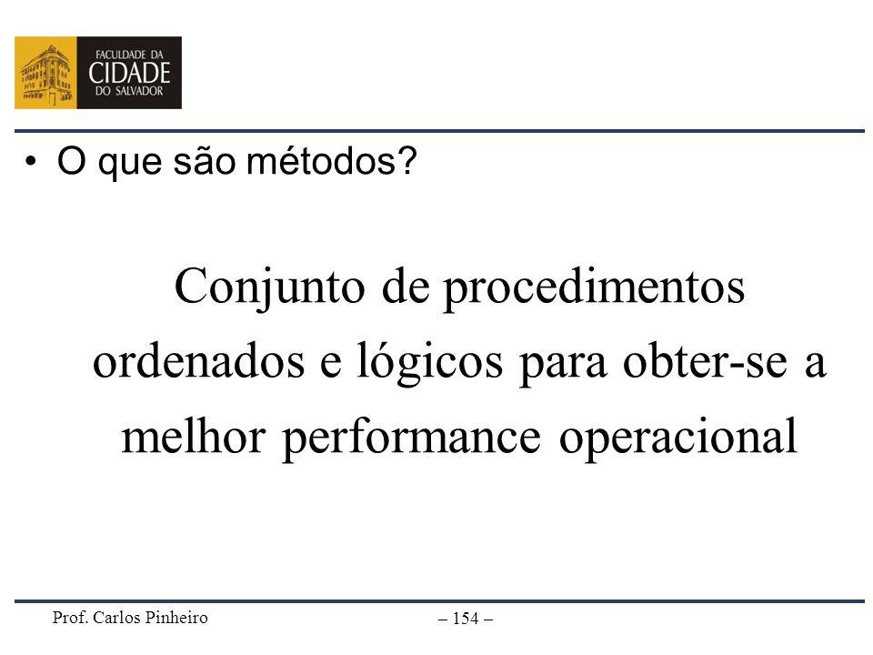 Prof. Carlos Pinheiro – 154 – O que são métodos? Conjunto de procedimentos ordenados e lógicos para obter-se a melhor performance operacional