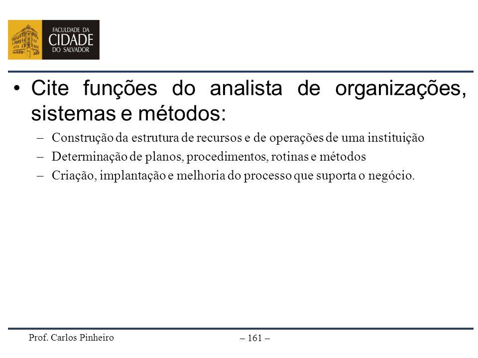 Prof. Carlos Pinheiro – 161 – Cite funções do analista de organizações, sistemas e métodos: –Construção da estrutura de recursos e de operações de uma