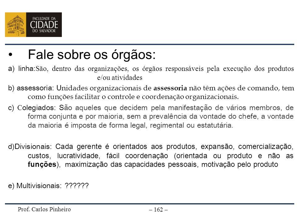 Prof. Carlos Pinheiro – 162 – Fale sobre os órgãos: a) linha: São, dentro das organizações, os órgãos responsáveis pela execução dos produtos e/ou ati