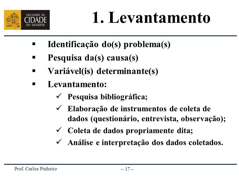 Prof. Carlos Pinheiro – 17 – 1. Levantamento Identificação do(s) problema(s) Pesquisa da(s) causa(s) Variável(is) determinante(s) Levantamento: Pesqui
