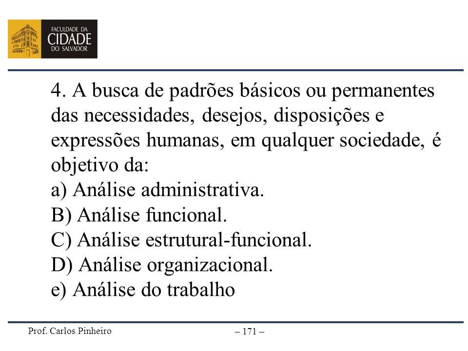 Prof. Carlos Pinheiro – 171 – 4. A busca de padrões básicos ou permanentes das necessidades, desejos, disposições e expressões humanas, em qualquer so