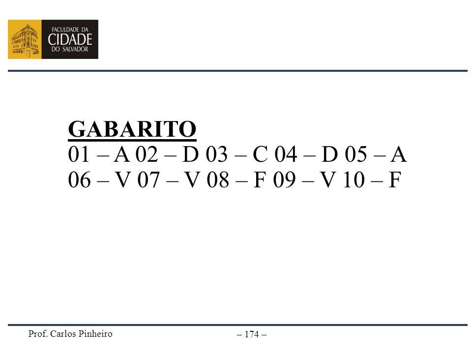 Prof. Carlos Pinheiro – 174 – GABARITO 01 – A 02 – D 03 – C 04 – D 05 – A 06 – V 07 – V 08 – F 09 – V 10 – F