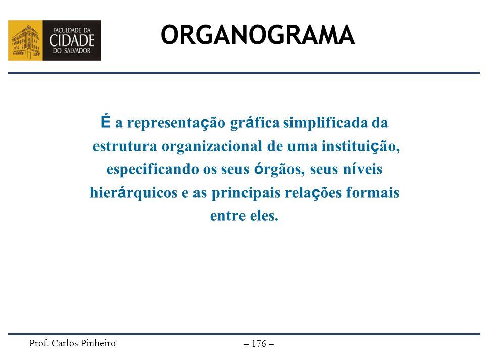 Prof. Carlos Pinheiro – 176 – ORGANOGRAMA É a representa ç ão gr á fica simplificada da estrutura organizacional de uma institui ç ão, especificando o