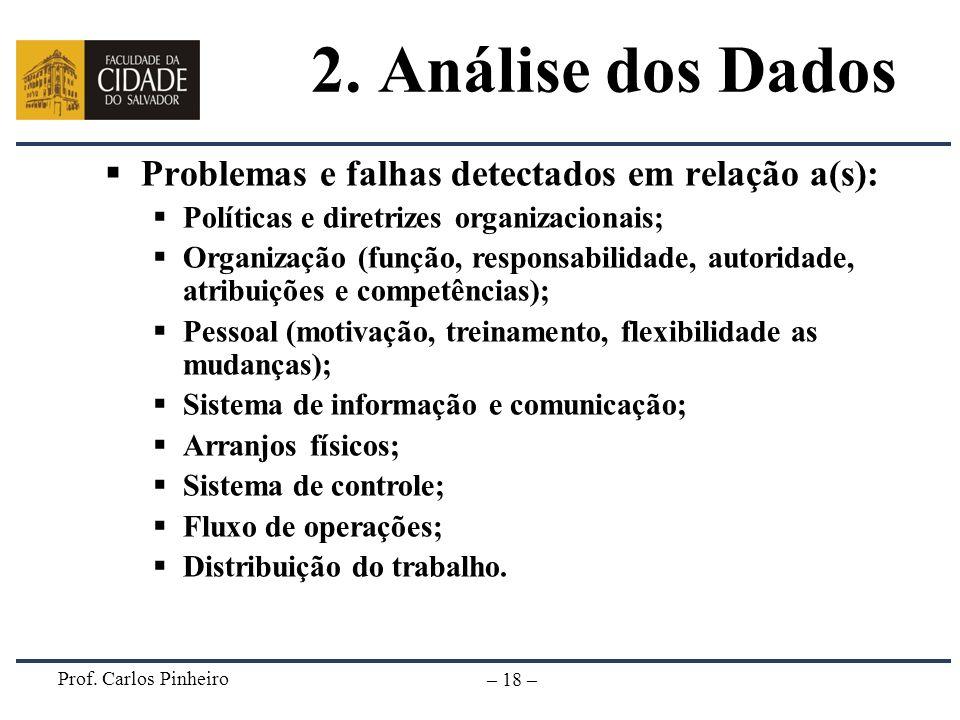 Prof. Carlos Pinheiro – 18 – 2. Análise dos Dados Problemas e falhas detectados em relação a(s): Políticas e diretrizes organizacionais; Organização (
