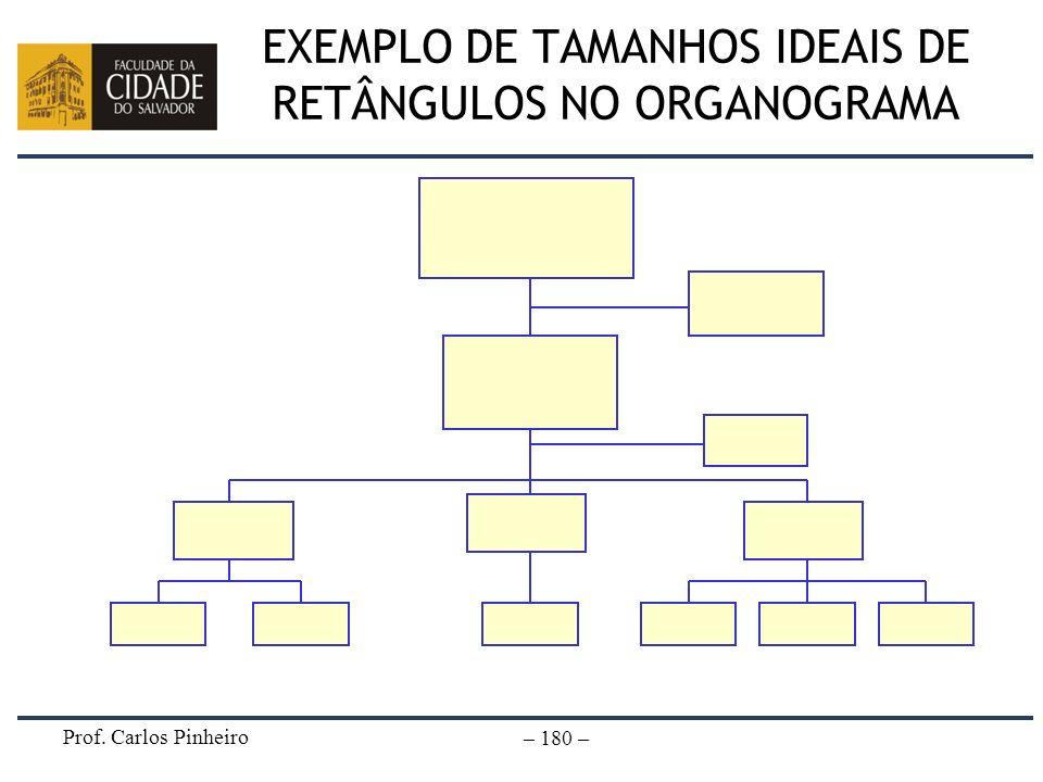 Prof. Carlos Pinheiro – 180 – EXEMPLO DE TAMANHOS IDEAIS DE RETÂNGULOS NO ORGANOGRAMA