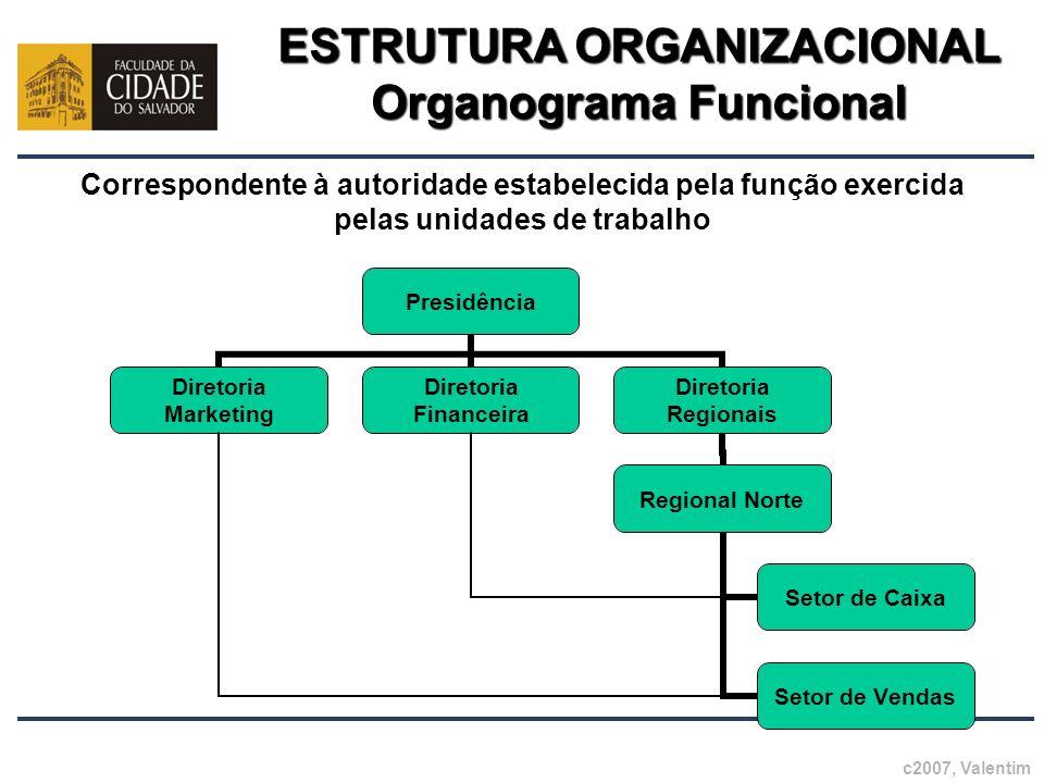 ESTRUTURA ORGANIZACIONAL Organograma Funcional Correspondente à autoridade estabelecida pela função exercida pelas unidades de trabalho c2007, Valenti