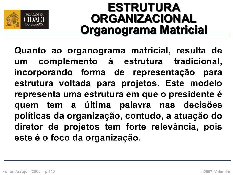 ESTRUTURA ORGANIZACIONAL Organograma Matricial c2007, Valentim Fonte: Araújo – 2000 – p.140 Quanto ao organograma matricial, resulta de um complemento