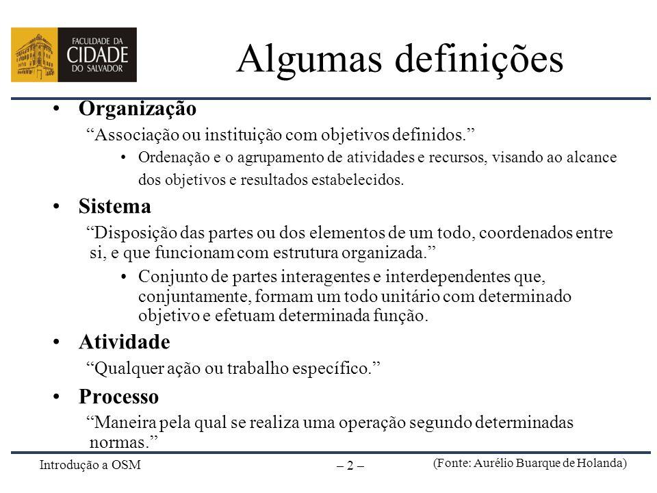 Introdução a OSM – 2 – Algumas definições Organização Associação ou instituição com objetivos definidos. Ordenação e o agrupamento de atividades e rec