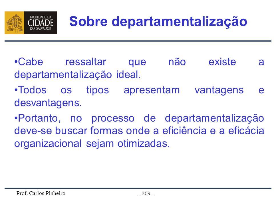 Prof. Carlos Pinheiro – 209 – Cabe ressaltar que não existe a departamentalização ideal. Todos os tipos apresentam vantagens e desvantagens. Portanto,