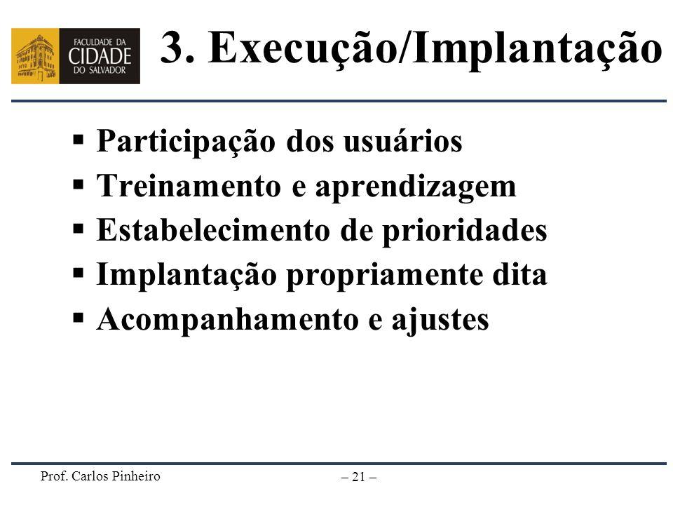 Prof. Carlos Pinheiro – 21 – Participação dos usuários Treinamento e aprendizagem Estabelecimento de prioridades Implantação propriamente dita Acompan