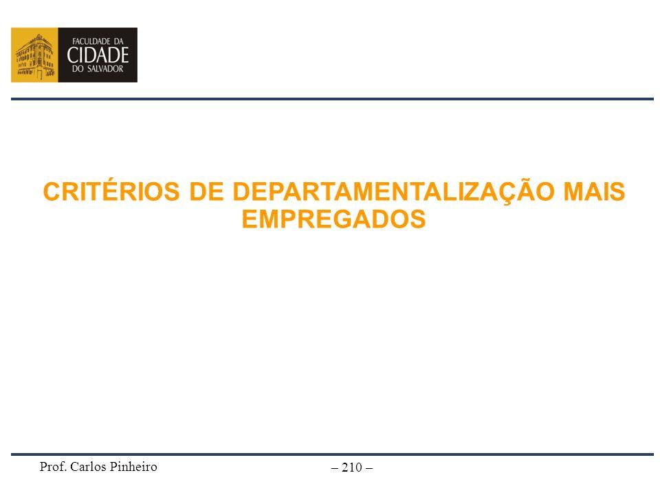 Prof. Carlos Pinheiro – 210 – CRITÉRIOS DE DEPARTAMENTALIZAÇÃO MAIS EMPREGADOS