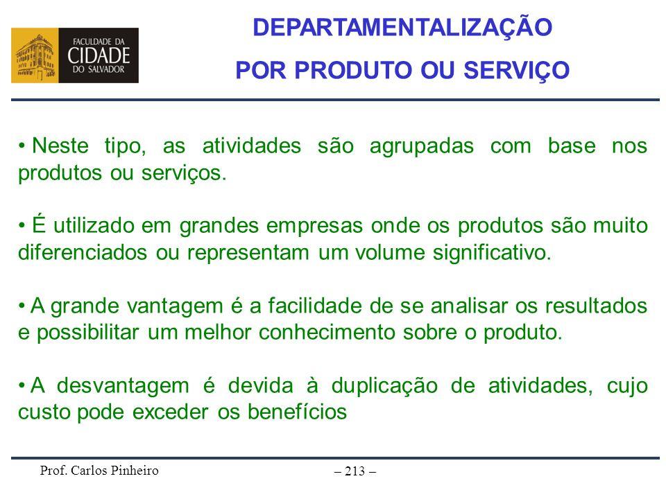 Prof. Carlos Pinheiro – 213 – Neste tipo, as atividades são agrupadas com base nos produtos ou serviços. É utilizado em grandes empresas onde os produ