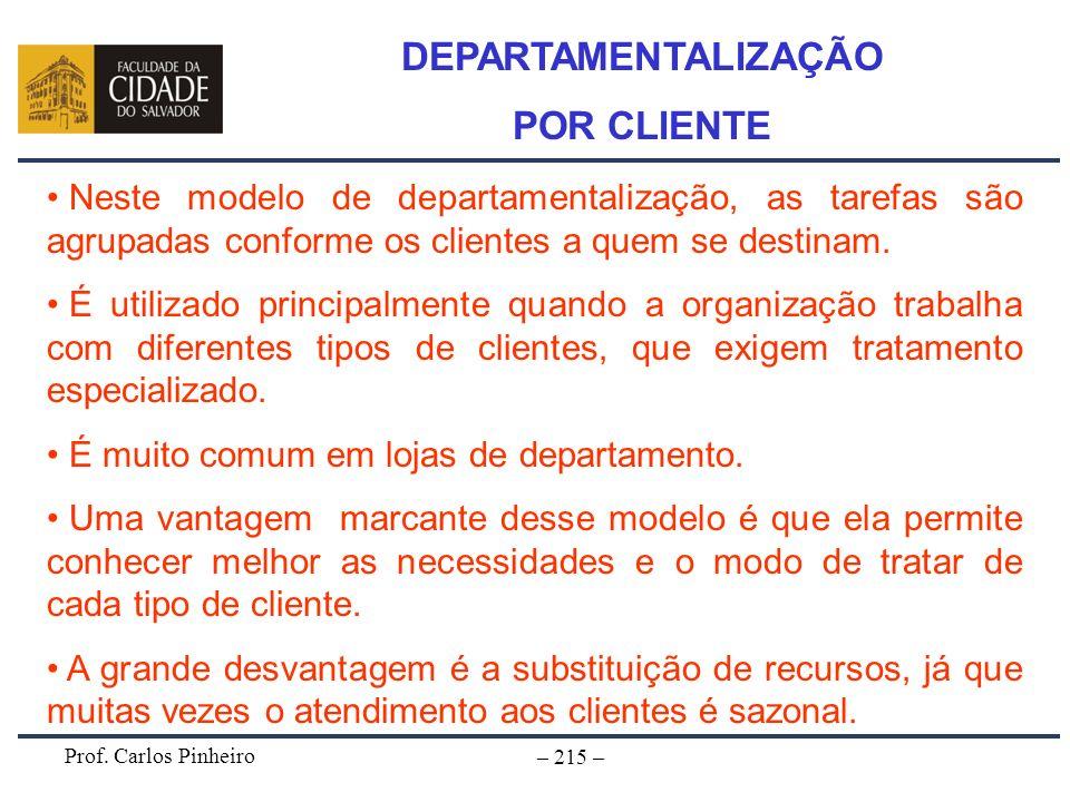 Prof. Carlos Pinheiro – 215 – Neste modelo de departamentalização, as tarefas são agrupadas conforme os clientes a quem se destinam. É utilizado princ