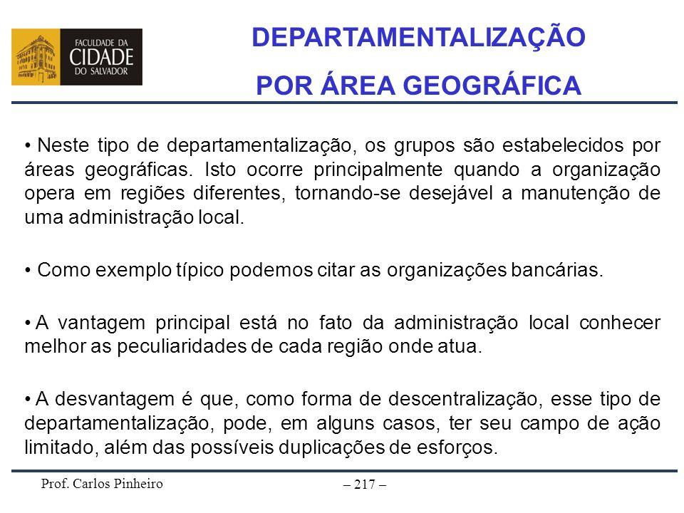 Prof. Carlos Pinheiro – 217 – Neste tipo de departamentalização, os grupos são estabelecidos por áreas geográficas. Isto ocorre principalmente quando