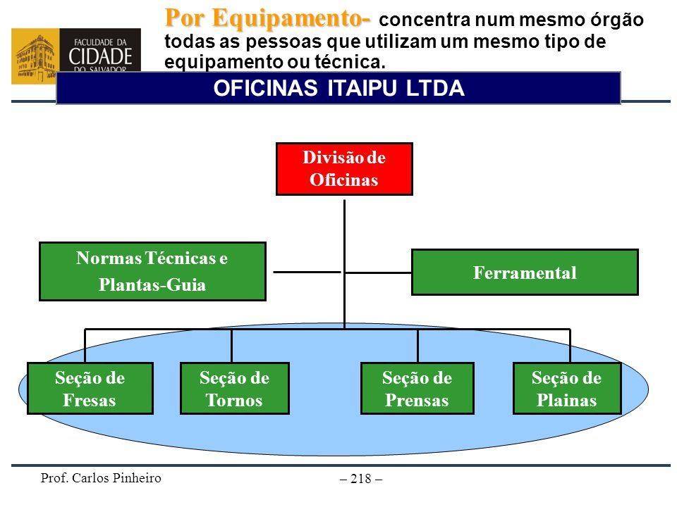 Prof. Carlos Pinheiro – 218 – OFICINAS ITAIPU LTDA Divisão de Oficinas Seção de Prensas Seção de Tornos Ferramental Seção de Fresas Seção de Plainas P