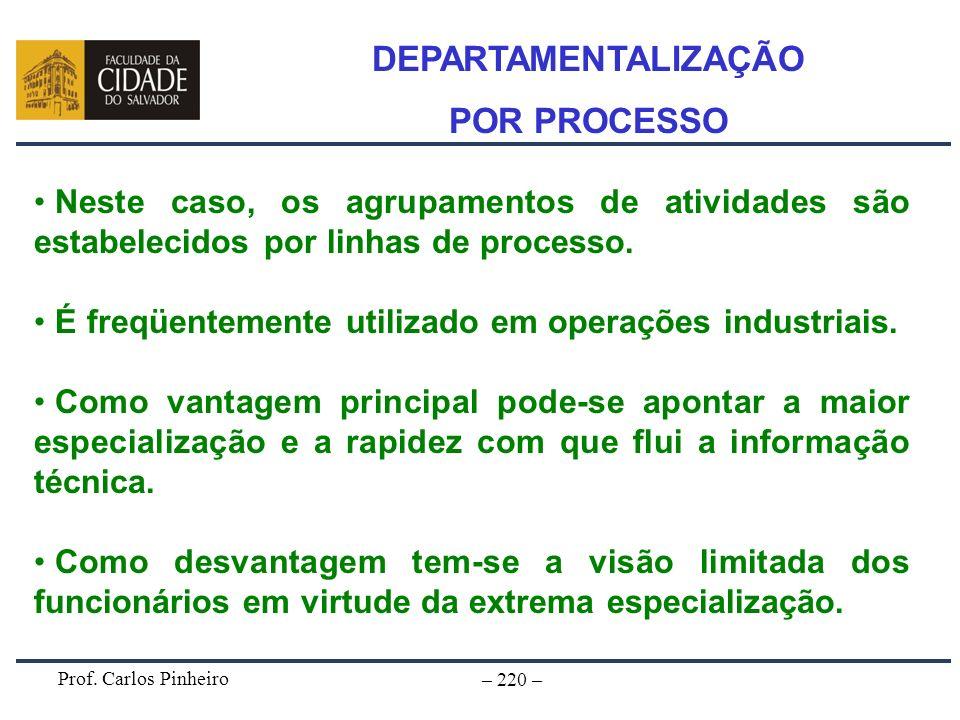 Prof. Carlos Pinheiro – 220 – Neste caso, os agrupamentos de atividades são estabelecidos por linhas de processo. É freqüentemente utilizado em operaç