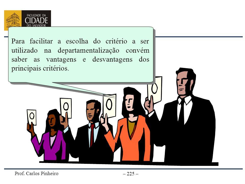 Prof. Carlos Pinheiro – 225 – Para facilitar a escolha do critério a ser utilizado na departamentalização convém saber as vantagens e desvantagens dos