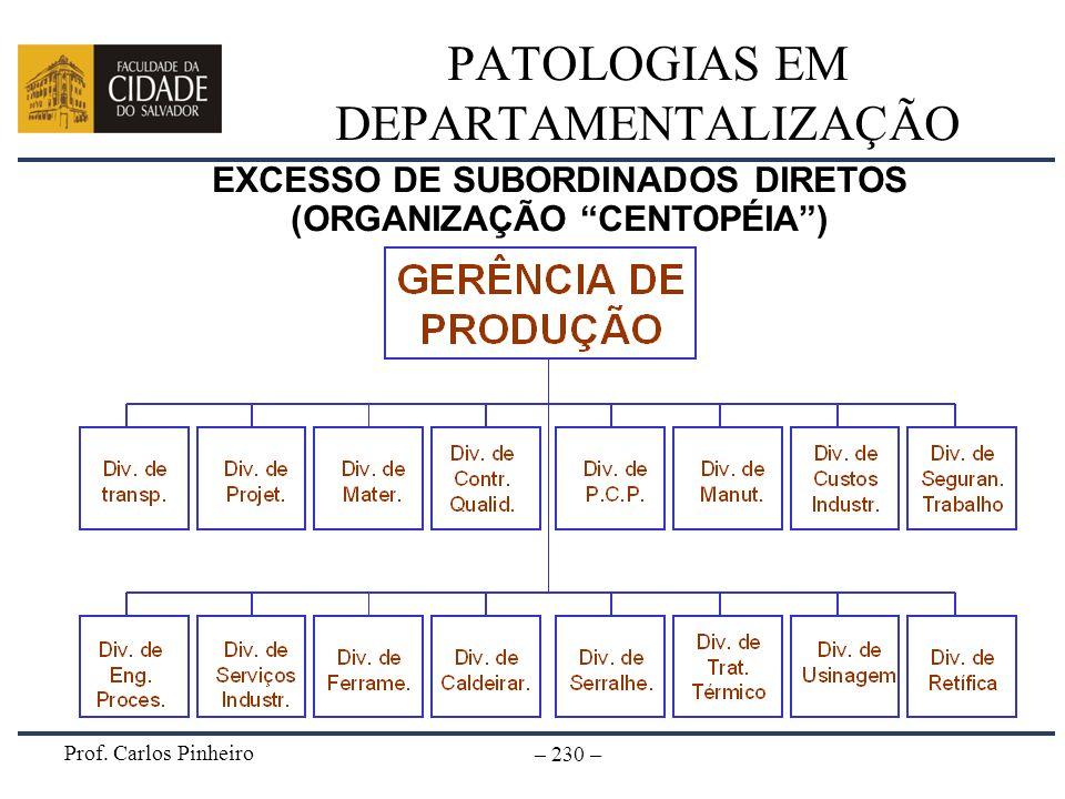 Prof. Carlos Pinheiro – 230 – PATOLOGIAS EM DEPARTAMENTALIZAÇÃO EXCESSO DE SUBORDINADOS DIRETOS (ORGANIZAÇÃO CENTOPÉIA)