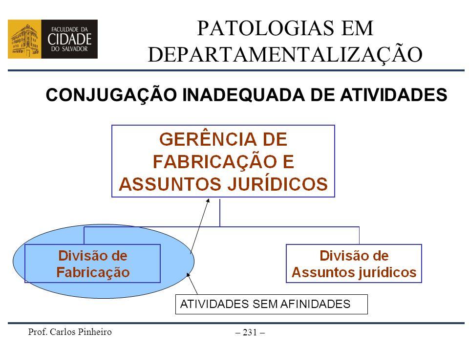 Prof. Carlos Pinheiro – 231 – PATOLOGIAS EM DEPARTAMENTALIZAÇÃO CONJUGAÇÃO INADEQUADA DE ATIVIDADES ATIVIDADES SEM AFINIDADES