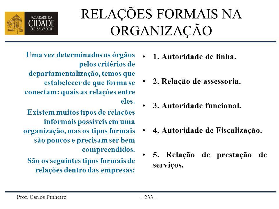 Prof. Carlos Pinheiro – 233 – RELAÇÕES FORMAIS NA ORGANIZAÇÃO Uma vez determinados os órgãos pelos critérios de departamentalização, temos que estabel