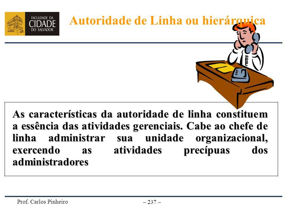 Prof. Carlos Pinheiro – 237 – As características da autoridade de linha constituem a essência das atividades gerenciais. Cabe ao chefe de linha admini