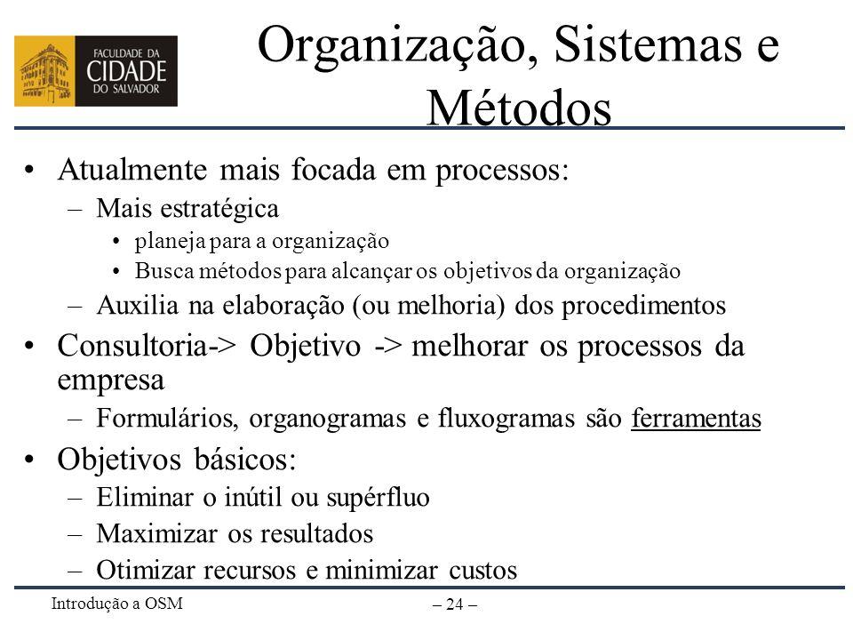 Introdução a OSM – 24 – Organização, Sistemas e Métodos Atualmente mais focada em processos: –Mais estratégica planeja para a organização Busca método