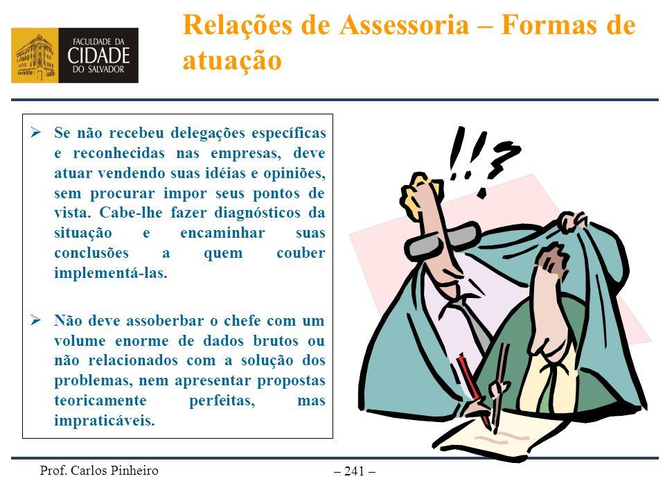 Prof. Carlos Pinheiro – 241 – Se não recebeu delegações específicas e reconhecidas nas empresas, deve atuar vendendo suas idéias e opiniões, sem procu