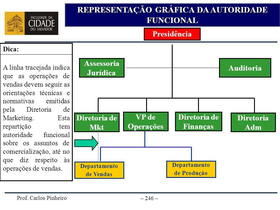 Prof. Carlos Pinheiro – 246 – REPRESENTAÇÃO GRÁFICA DA AUTORIDADE FUNCIONAL Presidência Diretoria de Finanças VP de Operações Departamento de Vendas D
