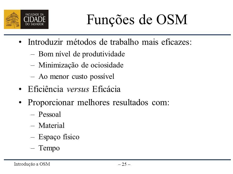 Introdução a OSM – 25 – Funções de OSM Introduzir métodos de trabalho mais eficazes: –Bom nível de produtividade –Minimização de ociosidade –Ao menor