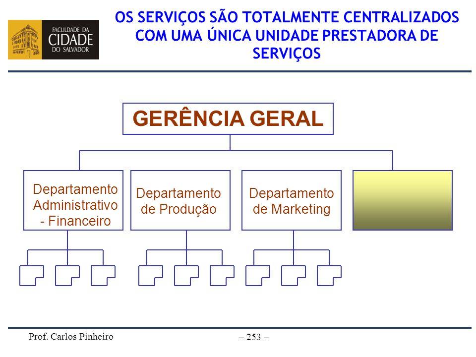 Prof. Carlos Pinheiro – 253 – OS SERVIÇOS SÃO TOTALMENTE CENTRALIZADOS COM UMA ÚNICA UNIDADE PRESTADORA DE SERVIÇOS GERÊNCIA GERAL Departamento Admini