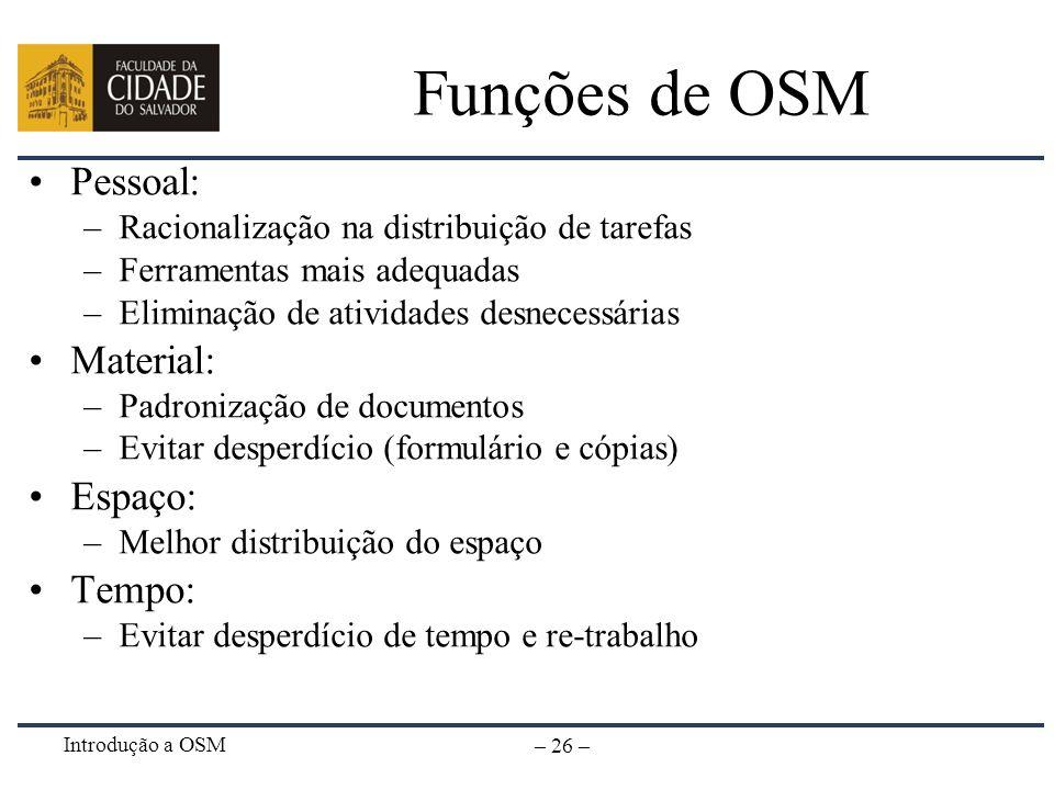 Introdução a OSM – 26 – Funções de OSM Pessoal: –Racionalização na distribuição de tarefas –Ferramentas mais adequadas –Eliminação de atividades desne