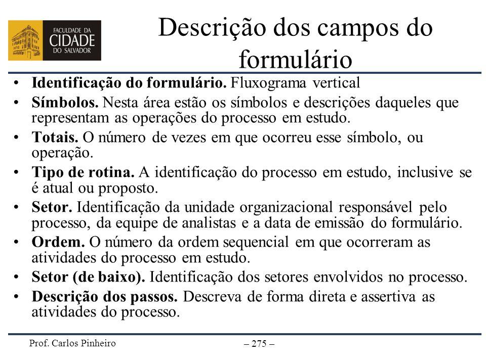 Prof. Carlos Pinheiro – 275 – Descrição dos campos do formulário Identificação do formulário. Fluxograma vertical Símbolos. Nesta área estão os símbol