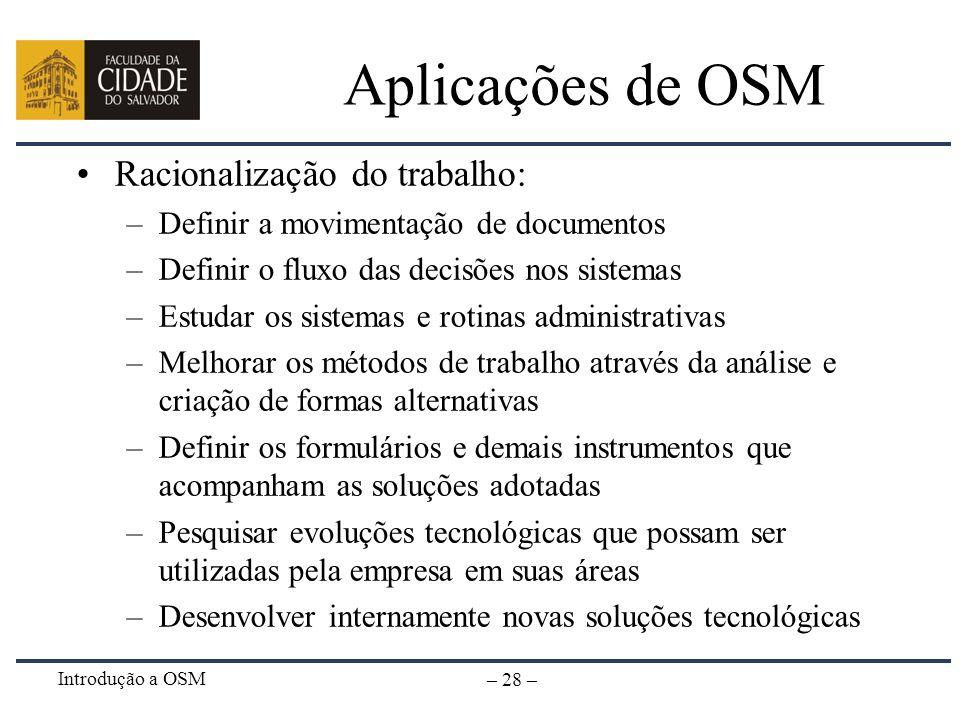 Introdução a OSM – 28 – Aplicações de OSM Racionalização do trabalho: –Definir a movimentação de documentos –Definir o fluxo das decisões nos sistemas