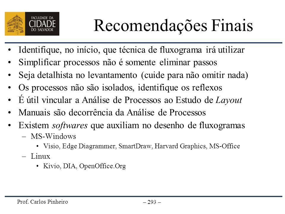 Prof. Carlos Pinheiro – 293 – Recomendações Finais Identifique, no início, que técnica de fluxograma irá utilizar Simplificar processos não é somente