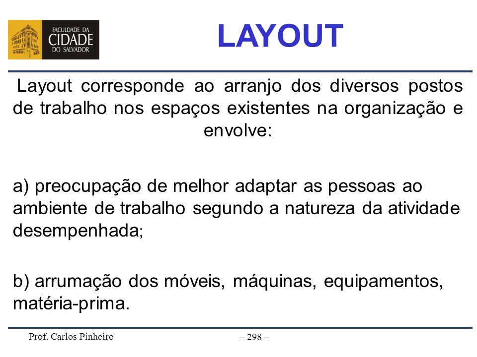Prof. Carlos Pinheiro – 298 – Layout corresponde ao arranjo dos diversos postos de trabalho nos espaços existentes na organização e envolve: a) preocu