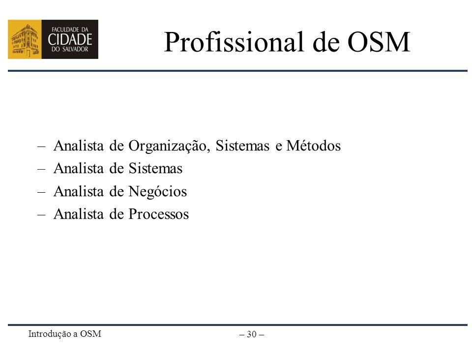 Introdução a OSM – 30 – Profissional de OSM –Analista de Organização, Sistemas e Métodos –Analista de Sistemas –Analista de Negócios –Analista de Proc