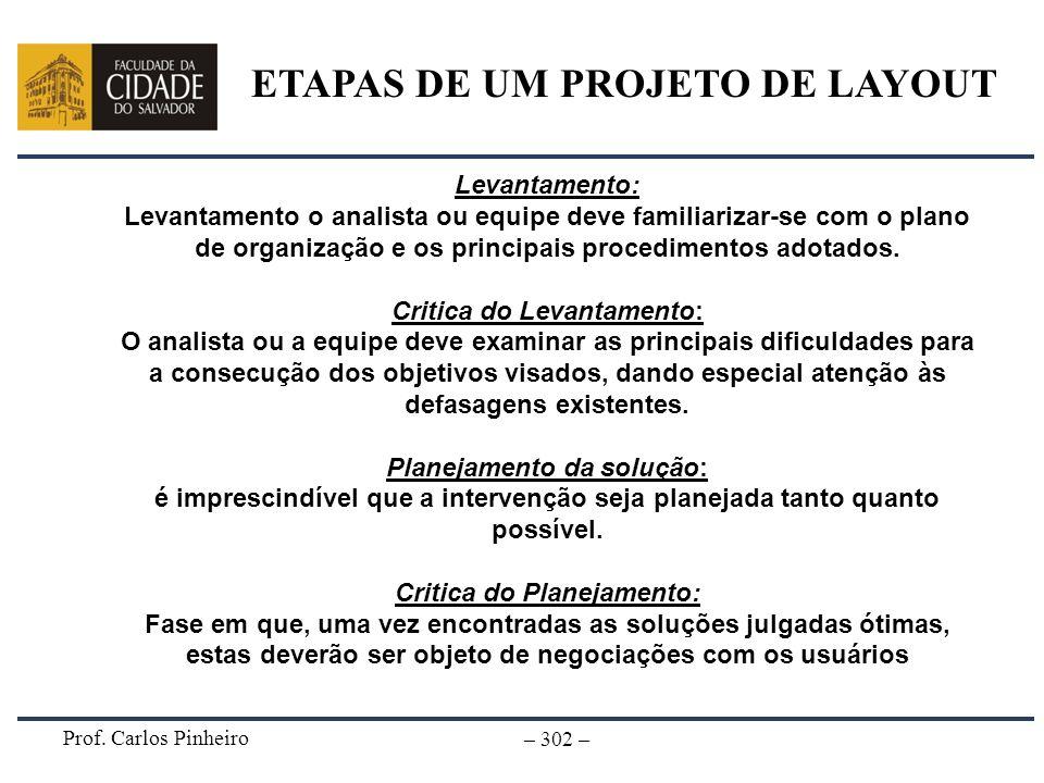 Prof. Carlos Pinheiro – 302 – Levantamento: Levantamento o analista ou equipe deve familiarizar-se com o plano de organização e os principais procedim