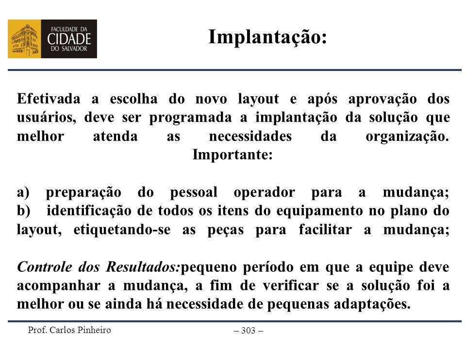 Prof. Carlos Pinheiro – 303 – Efetivada a escolha do novo layout e após aprovação dos usuários, deve ser programada a implantação da solução que melho