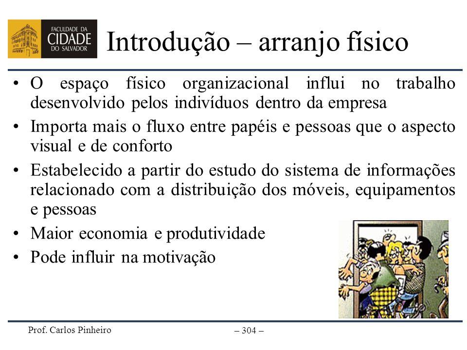 Prof. Carlos Pinheiro – 304 – Introdução – arranjo físico O espaço físico organizacional influi no trabalho desenvolvido pelos indivíduos dentro da em